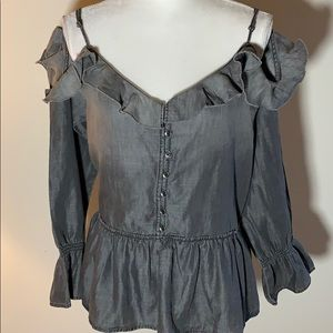NWT William Rast Ruffled Cold Shoulder Blouse